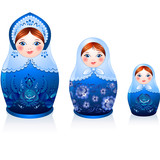 Three Russian tradition matryoshka dolls in gzhel style