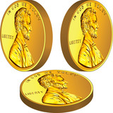 Vector Gold American money coin with Lincoln from different angl