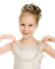 Beautiful girl in white dress