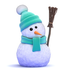 Snowman wearing a wooly green hat holding a broom