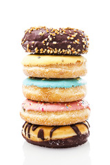 A stack of donuts on white background