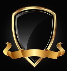 Shield and ribbon in bright gold vector eps10