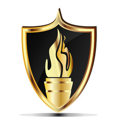 Shield and flame torch gold design vector