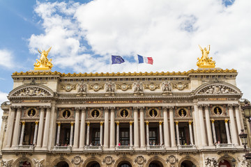 Architectural details of Opera National de Paris: Front Facade.