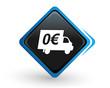 icône livraison gratuite sur bouton carré bleu design