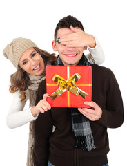 Isolated young christmas couple