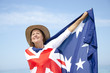 Woman and Australian Flag isolated