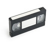 old VHS Video Cassette tape isolated with blank tag