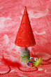 Handmade Christmas Tree on Red Background