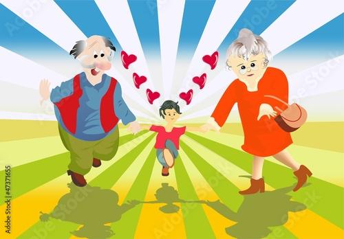 babcia, dziadek i wnuczek
