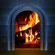 Vintage fireplace with burning logs. Renewable energy concept.