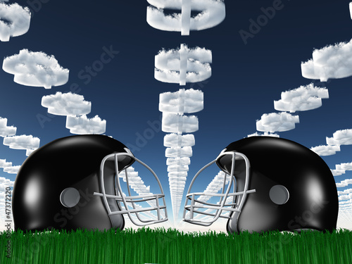 Football Helmet on Grass with DollarSymbol Clouds