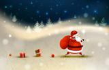 Fototapety Santa Claus on the Winter landscape