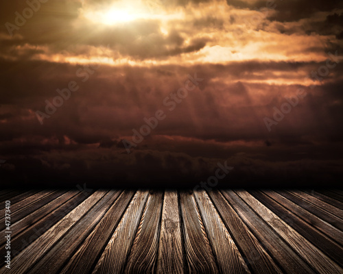Wooden Floor on Sky