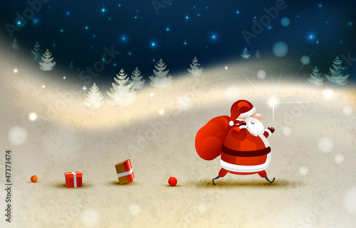 Santa Claus on the Winter landscape