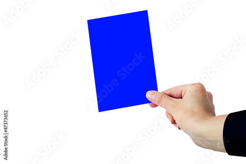 Hand shows Blue Card