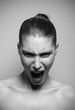 Beautiful woman shouting angry