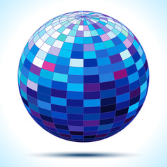 abstract 3d blue sphere, vector illustration