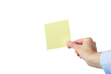 Hand holding up yellow note