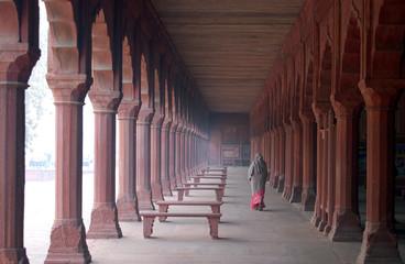 Indian woman in Taj Mahal gardens