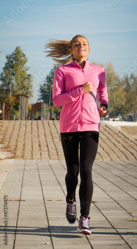 young girl jogging