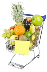 A shopping cart trolley with fruit and blank memo note