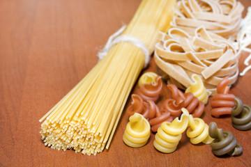 Pasta spaghetti various assortment on table