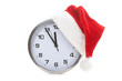 clock with christmas santa hat