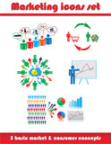 Marketing business icons set, vector illustration