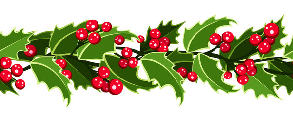 Horizontal vector seamless garland with Christmas holly.