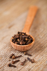 cloves in wooden spoon