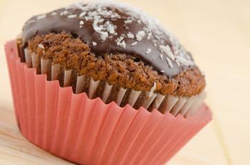 Homemade sweet chocolate muffin isolated