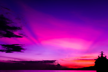 Ship Silhouette - Colourful Sky - Trinidad and Tobago
