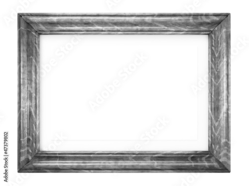 Vintage Wooden Image Frame Isolated on White.
