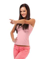 brunette woman pointing portrait
