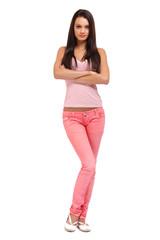 brunette teenager posing on white background