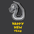 Vector New Year's Eve greeting card with black snake.