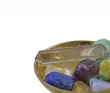 Brass bowl with healing crystals