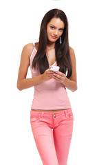 brunette teenager with cellphone isolated on white
