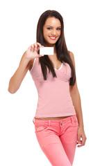 portrait of a cardholder brunette woman