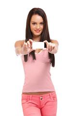 nice girl holding a blank businesscard