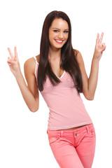 funny portrait of a happy brunette woman