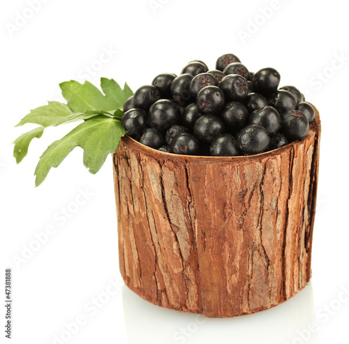 chokeberry with green leaves in wooden bowl isolated on white