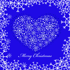 blue christmas background with heart