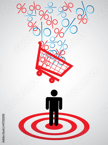 Hit by a discount, vector illustration