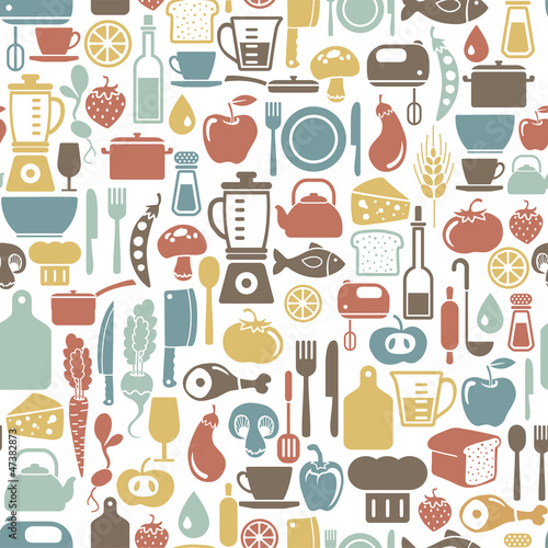 Sticker seamless pattern with cooking icons