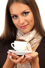 beautiful young woman with cup of coffee beans, isolated