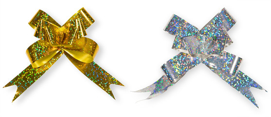silver and golden holiday bow