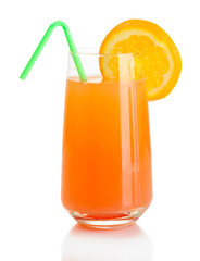 Glass of orange cocktail isolated on white