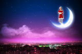 Santa girl on the moon